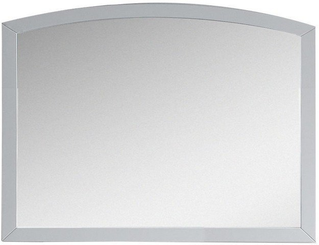 American Imagination AI-18266 Bow 35 x 25.6 Inch Modern Birch Wood-Veneer Wood Mirror In White