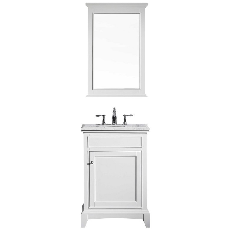 Eviva Evvn709 24wh Elite Stamford 24 Inch White Solid Wood Bathroom Vanity Set With Double Og White Carrera Marble