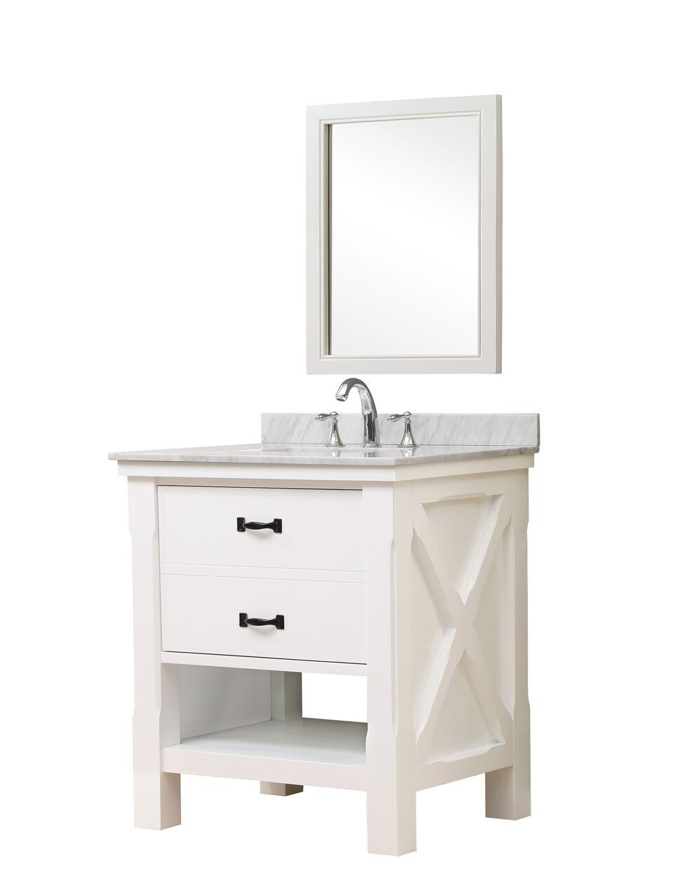 DIRECT VANITY SINK 32S1-WWC-M XTRAORDINARY SPA 32 INCH WHITE VANITY WITH CARRARA WHITE MARBLE TOP AND MIRROR