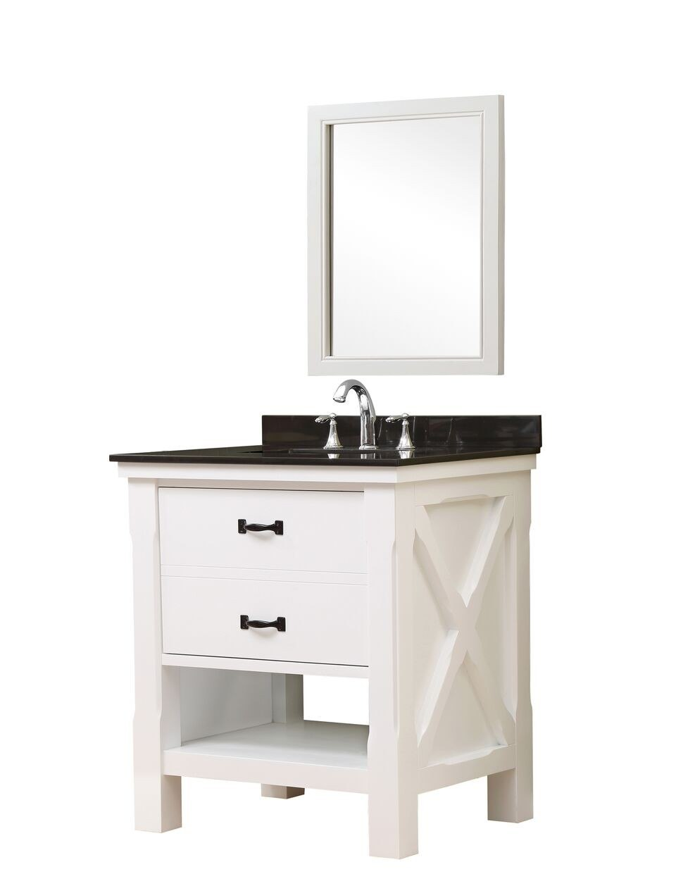 DIRECT VANITY SINK 32S1-WBK-M XTRAORDINARY SPA 32 INCH WHITE VANITY WITH BLACK GRANITE TOP AND MIRROR