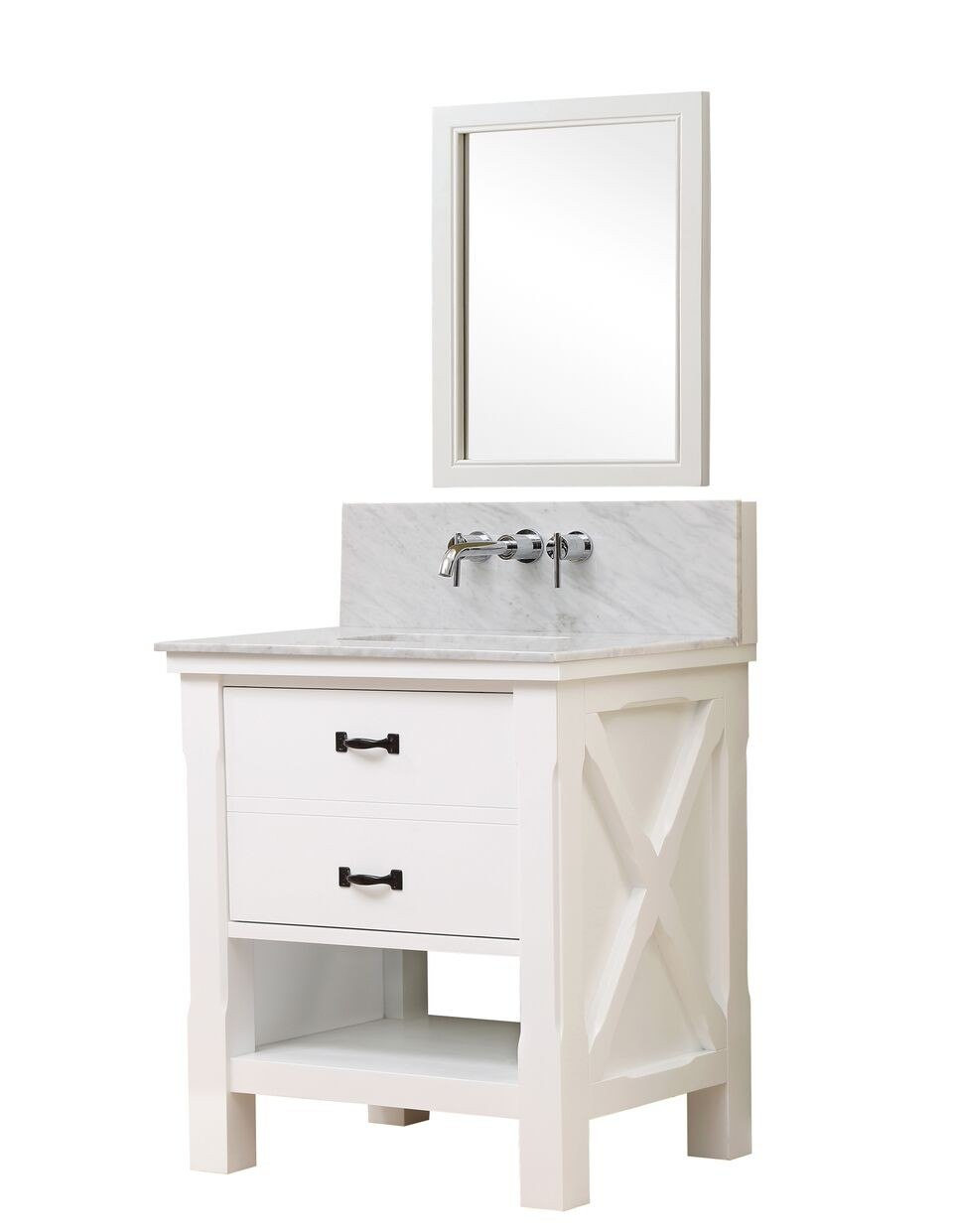DIRECT VANITY SINK 32S1-WWC-WM-M XTRAORDINARY SPA PREMIUM 32 INCH WHITE VANITY WITH CARRERA WHITE MARBLE TOP AND MIRROR