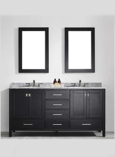 Eviva EVVN199-72ES Aberdeen 72 Transitional Espresso Bathroom Vanity with White Carrera Countertop