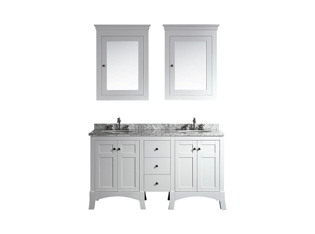 Eviva EVVN514-60WH  New York 60 Inch White Bathroom Vanity, with White Marble Carrera Counter-top and Sink