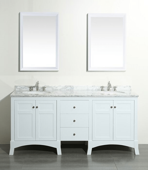 Eviva EVVN514-72WH  New York 72 Inch White Bathroom Vanity, with White Marble Carrera Counter-top and Sink