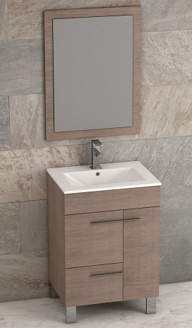 Eviva EVVN521-24MOK Cup 24 Inch Medium Oak Modern Bathroom Vanity with White Integrated Porcelain Sink