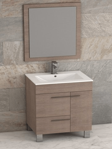 Eviva EVVN521-32MOK Cup 31.5 Inch Medium Oak Modern Bathroom Vanity with White Integrated Porcelain Sink