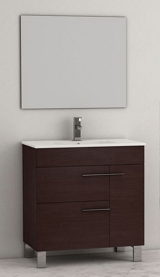 Eviva EVVN521-32WG Cup 31.5 Inch Wenge (Dark Brown) Modern Bathroom Vanity with White Integrated Porcelain Sink