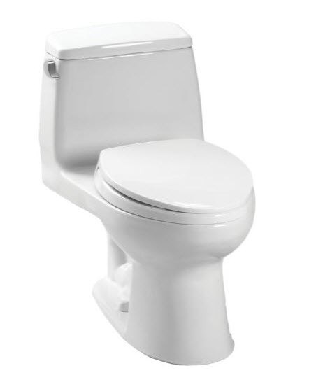 Toto MS854114ELG#01 Cotton Eco UltraMax One Piece Elongated 1.28 GPF ADA Toilet with E-Max Flush System and SanaGloss - SoftClose Seat Included