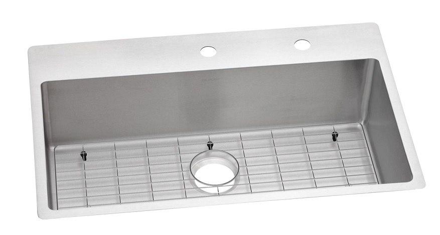 Elkay ECTSRS33229TBGFR2 Crosstown 33 L x 22 W x 9 D Universal Mount Kitchen Sink with Bottom Grid , 2 Faucet Holes