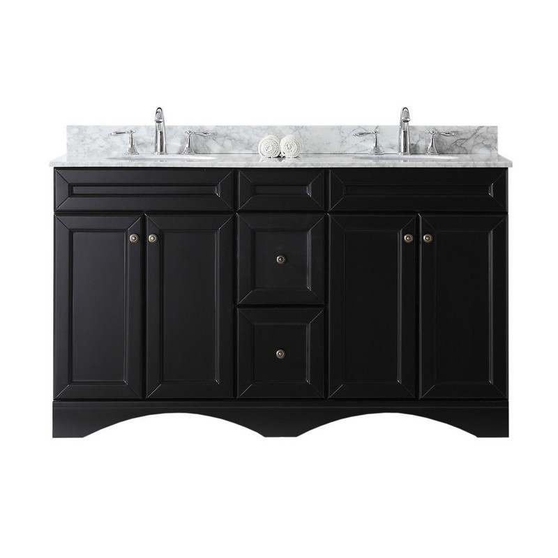 VIRTU USA ED-25060-WMRO-NM TALISA 60 INCH DOUBLE BATH VANITY WITH MARBLE TOP AND ROUND SINK