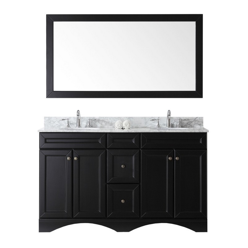 VIRTU USA ED-25060-WMRO TALISA 60 INCH DOUBLE BATH VANITY WITH MARBLE TOP AND ROUND SINK WITH MIRROR