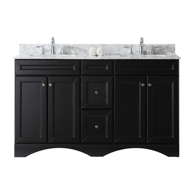VIRTU USA ED-25060-WMSQ-NM TALISA 60 INCH DOUBLE BATH VANITY WITH MARBLE TOP AND SQUARE SINK
