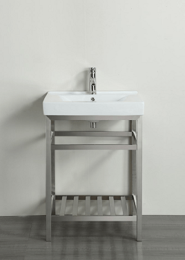 Eviva EVVN08-24SS Stone 24 Inch Bathroom Vanity Stainless Steel with White Integrated Porcelain Top