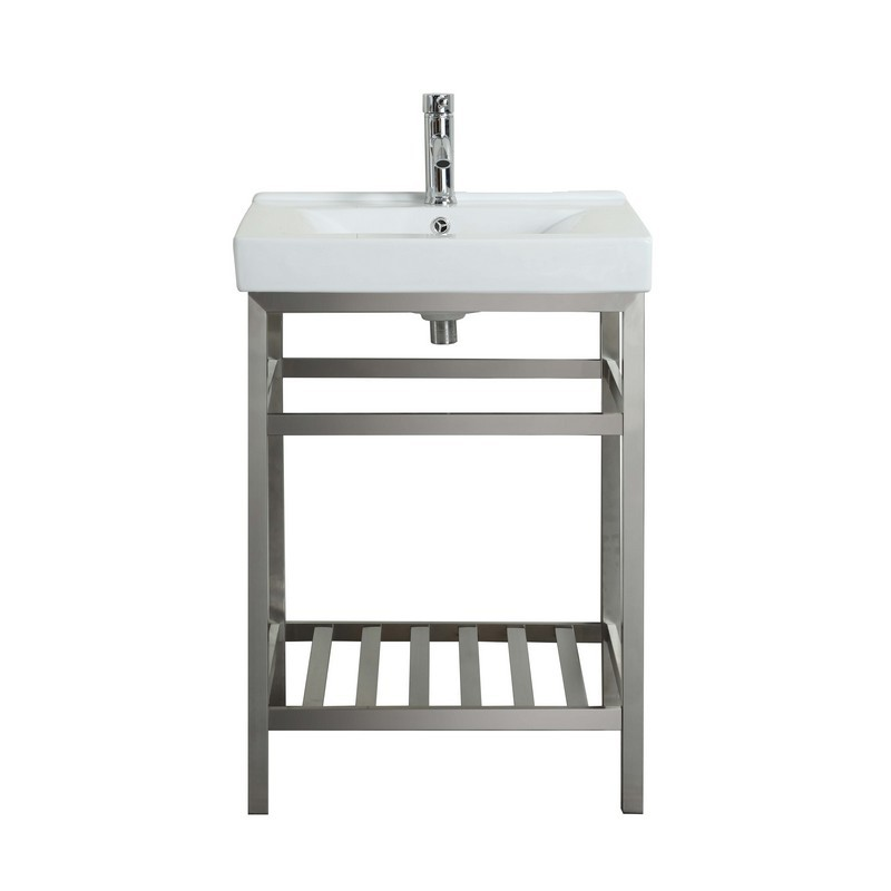 Eviva Evvn08 24ss Stone 24 Inch Bathroom Vanity Stainless Steel With White Integrated Porcelain Top