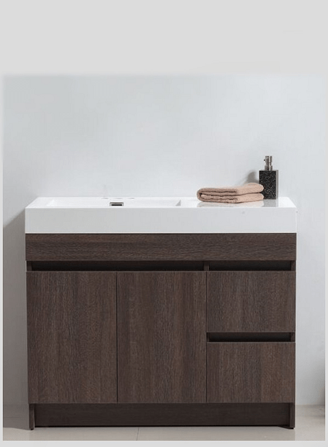 Eviva EVVN1000-39GOK Beach 39 Inch Grey Oak Modern Bathroom Vanity Set with Integrated White Acrylic Sink
