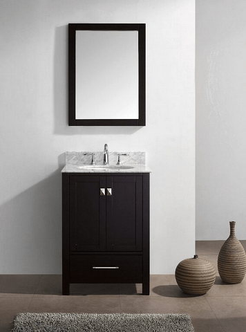 Eviva EVVN199-24ES Aberdeen 24 Transitional Espresso Bathroom Vanity with White Carrera Countertop