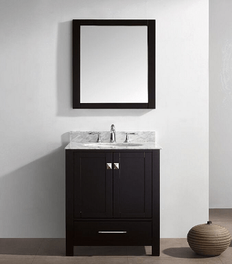 Eviva EVVN199-30ES Aberdeen 30 Transitional Espresso Bathroom Vanity with White Carrera Countertop