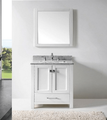 Eviva EVVN199-30WH Aberdeen 30 Transitional White Bathroom Vanity with White Carrera Countertop