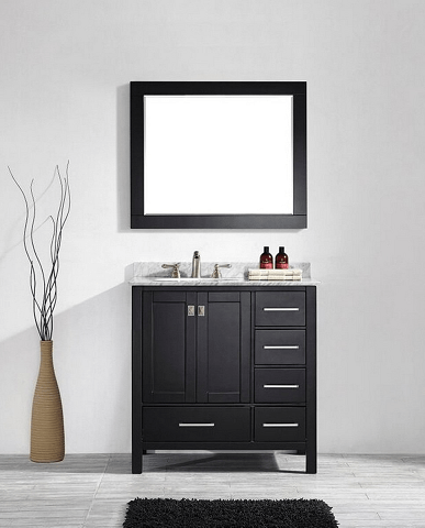 Eviva EVVN199-36ES Aberdeen 36 Transitional Espresso Bathroom Vanity with White Carrera Countertop