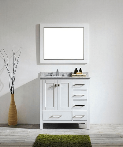 Eviva EVVN199-36WH Aberdeen 36 Transitional White Bathroom Vanity with White Carrera Countertop