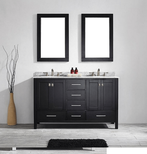Eviva EVVN199-60ES Aberdeen 60 Transitional Espresso Bathroom Vanity with White Carrera Countertop