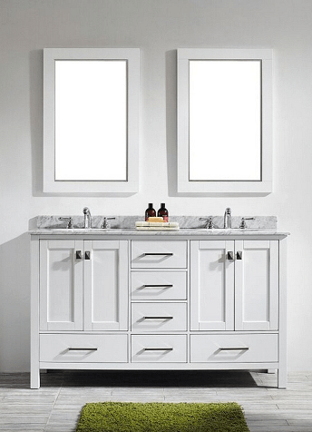 Eviva EVVN199-60WH Aberdeen 60 Transitional White Bathroom Vanity with White Carrera Countertop