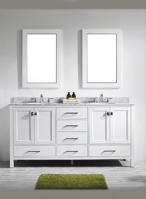 Eviva EVVN199-72WH Aberdeen 72 Transitional White Bathroom Vanity with White Carrera Countertop
