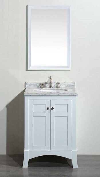 Eviva EVVN514-24WH  New York 24 Inch White Bathroom Vanity, with White Marble Carrera Counter-top and Sink