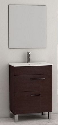 Eviva EVVN521-24WG Cup 24 Inch Wenge (Dark Brown) Modern Bathroom Vanity with White Integrated Porcelain Sink