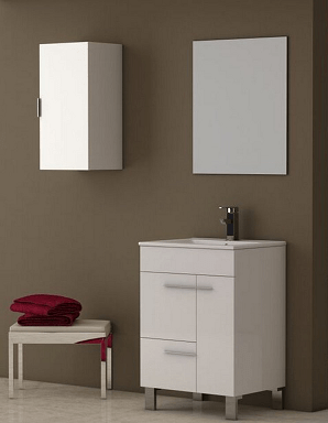 Eviva EVVN521-24WH Cup 24 Inch White Modern Bathroom Vanity with White Integrated Porcelain Sink