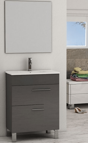 Eviva EVVN521-32GR Cup 31.5 Inch Grey Modern Bathroom Vanity with White Integrated Porcelain Sink