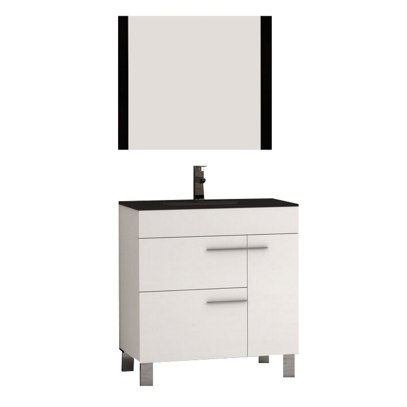 EVIVA EVVN521-32WH CUP 31.5 INCH WHITE MODERN BATHROOM VANITY WITH WHITE INTEGRATED PORCELAIN SINK