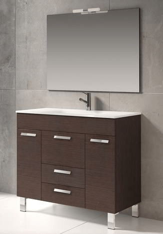 Eviva EVVN528-36WG  Venus 36 Inch Wenge Modern Bathroom Vanity Wall Mount with White Integrated Porcelain Sink