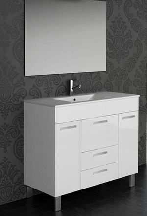 Eviva EVVN528-36WH  Venus 36 Inch White Modern Bathroom Vanity Wall Mount with White Integrated Porcelain Sink