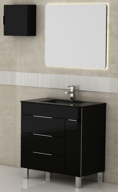 Eviva EVVN530-28BL Geminis 28 Inch Black Modern Bathroom Vanity with White Integrated Porcelain Sink