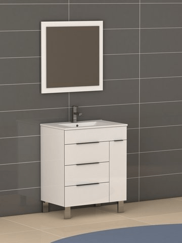 Eviva EVVN530-28WH Geminis 28 Inch White Modern Bathroom Vanity with White Integrated Porcelain Sink