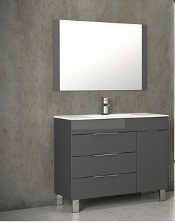 Eviva EVVN530-39GR Geminis 39 Inch Grey Modern Bathroom Vanity with White Integrated Porcelain Sink