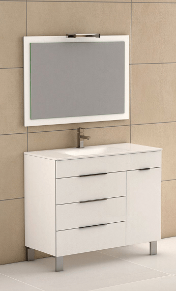 Eviva EVVN530-39WH Geminis 39 Inch White Modern Bathroom Vanity with White Integrated Porcelain Sink
