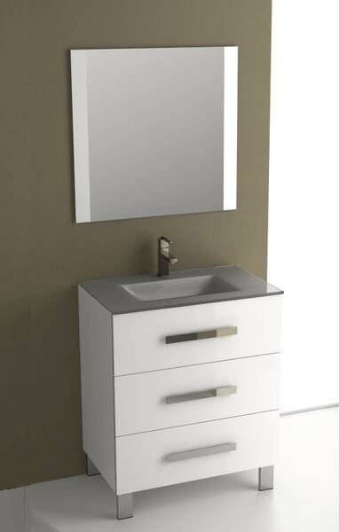 Eviva EVVN531-30WH Libra 27 Inch White Modern Bathroom Vanity Wall Mount with White Integrated Porcelain Sink