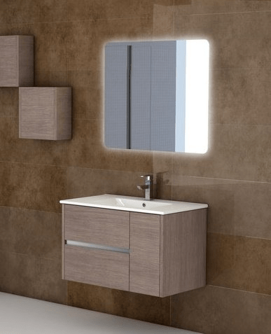 Eviva EVVN533-32MOK  Aries 32 Inch Medium Oak Modern Bathroom Vanity Wall Mount with White Integrated Porcelain sink
