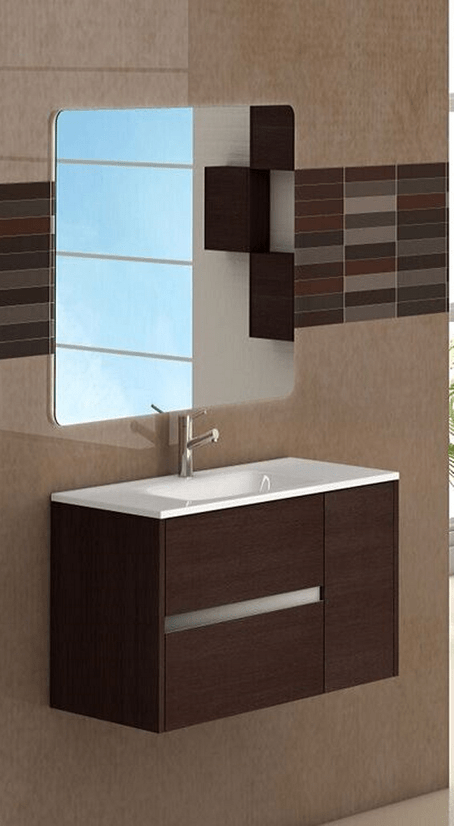 Eviva EVVN533-32WG  Aries 32 Inch Wenge Modern Bathroom Vanity Wall Mount with White Integrated Porcelain sink
