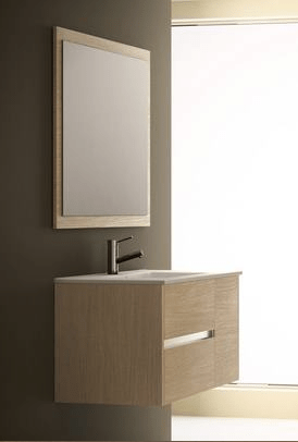 Eviva EVVN533-39MOK  Aries 39 Inch Medium Oak Modern Bathroom Vanity Wall Mount with White Integrated Porcelain sink