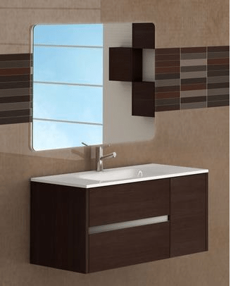 Eviva EVVN533-39WG  Aries 39 Inch Wenge Modern Bathroom Vanity Wall Mount with White Integrated Porcelain sink