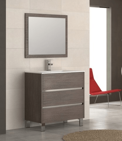 Eviva EVVN534-32MOK  Escorpio 32 Inch Medium Oak Modern Bathroom Vanity Wall Mount with White Integrated Porcelain Sink