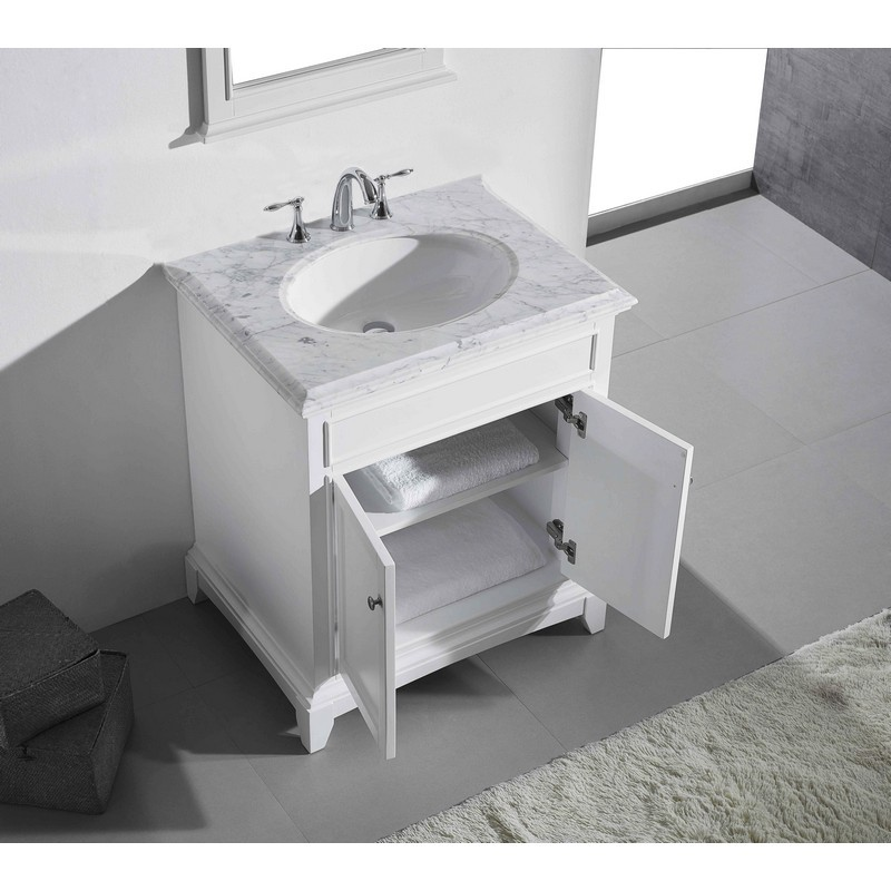 Eviva Evvn709 30wh Elite Stamford 30 Inch White Solid Wood Bathroom Vanity Set With Double Og White Carrera Marble