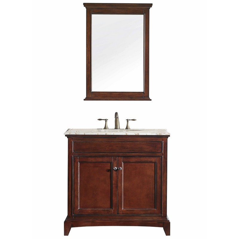 Solid Wood Bathroom Vanities | Eviva Evvn709 36tk Elite Stamford 36 Inch Brown Solid Wood Bathroom Vanity Set With Double Og Crema Marfil Marble Top And White Undermount Porcelain