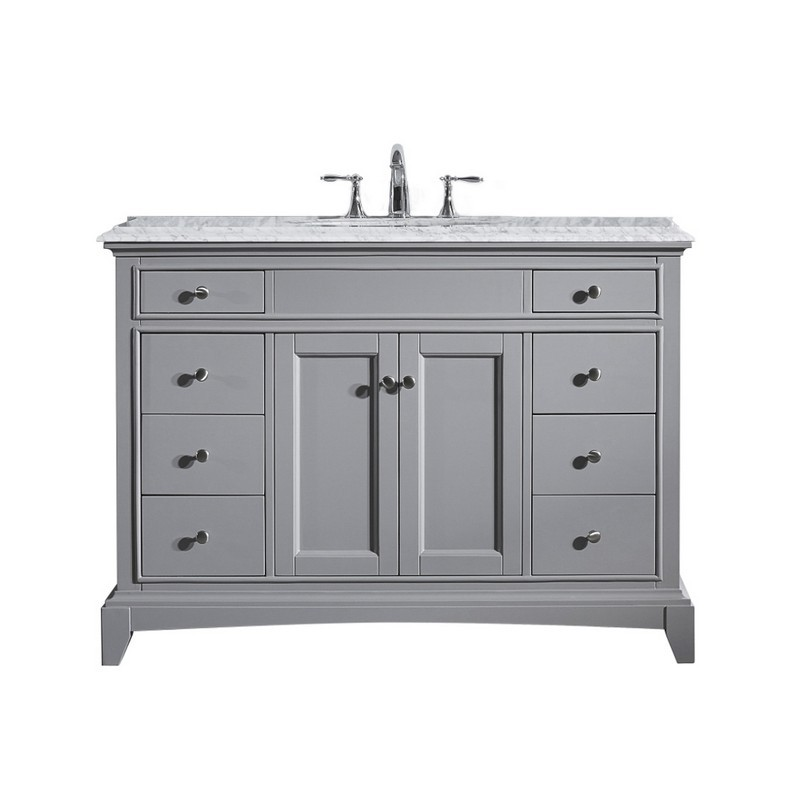 Eviva Evvn709 48gr Elite Stamford 48 Inch Gray Solid Wood Bathroom Vanity Set With Double Og White Carrera Marble Top
