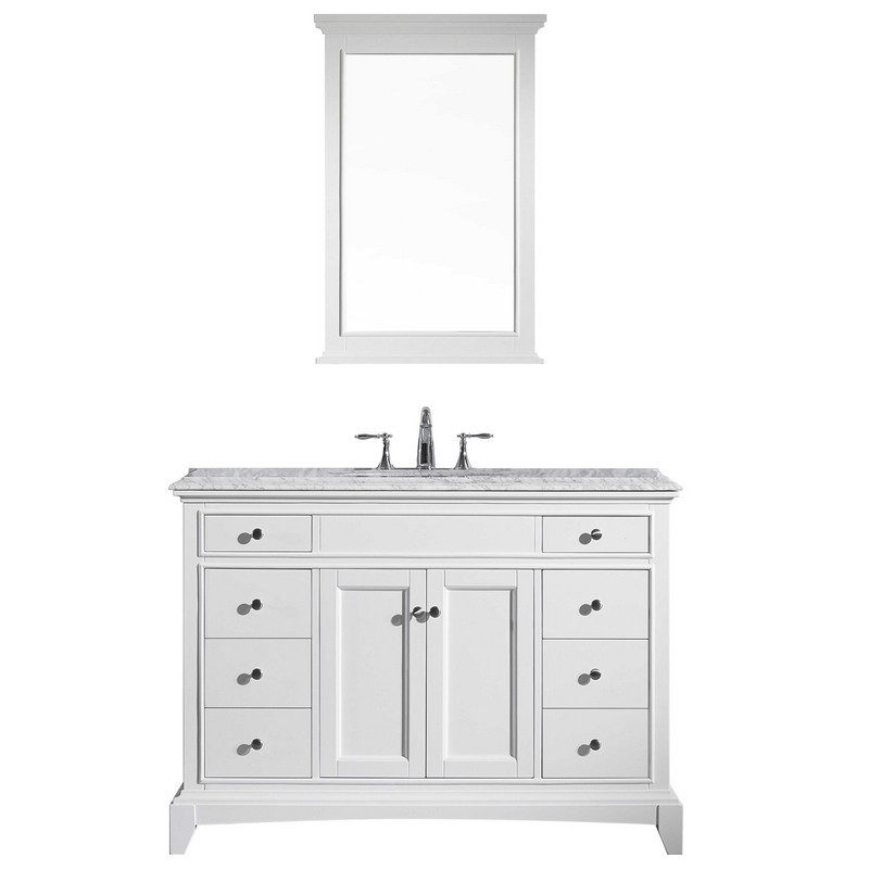 Eviva Evvn709 48wh Elite Stamford 48 Inch White Solid Wood Bathroom Vanity Set With Double Og White Carrera Marble