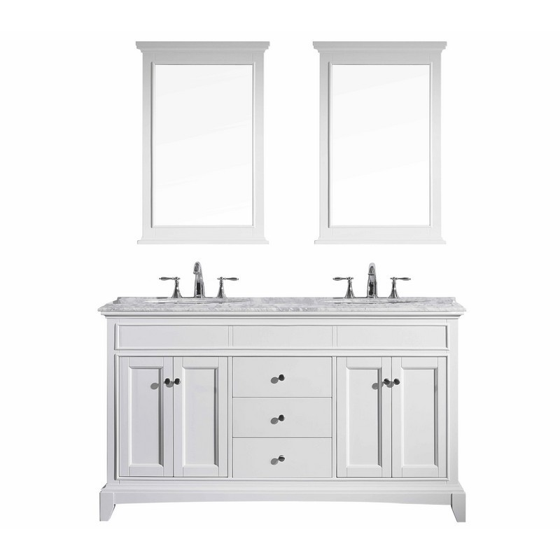EVIVA EVVN709-60WH ELITE STAMFORD 60 INCH WHITE SOLID WOOD BATHROOM VANITY SET WITH DOUBLE OG WHITE CARRERA MARBLE TOP AND WHITE UNDERMOUNT PORCELAIN SINKS