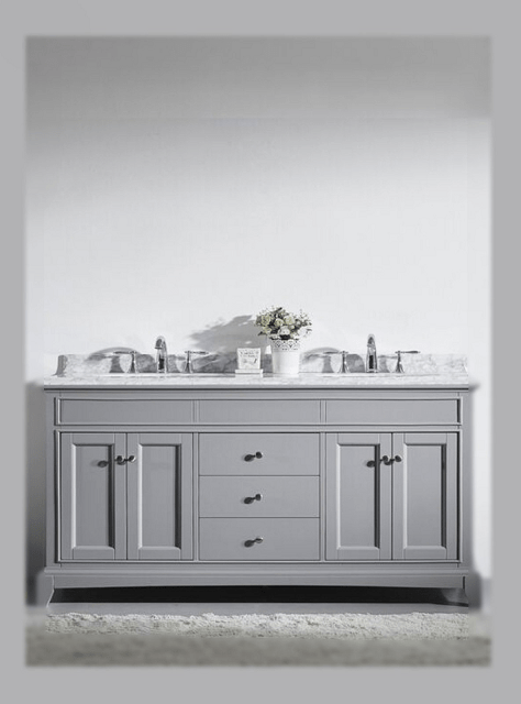 Eviva EVVN709-72GR Elite Stamford 72 Inch Gray Solid Wood Bathroom Vanity Set with Double OG White Carrera Marble Top and White Undermount Porcelain Sinks